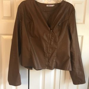 XL Brown Leatherette Jacket